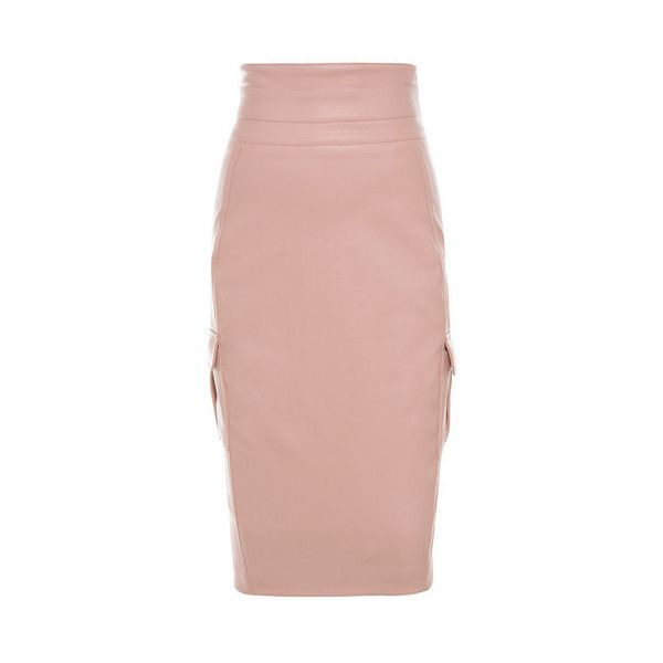 Dominga' Blush Vegan Leather Pencil Skirt ❤ liked on Polyvore ...