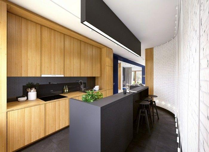 moderne küchen schwarze kücheninsel holzelemente | Ideen Kü ...