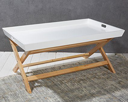 Side Table White Ecru Foldable Coffee Table Tea Table 39 X