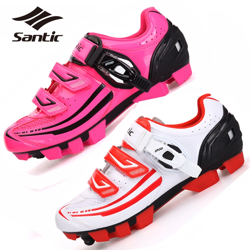 (72.99$)  Buy here  - 2017 SANTIC Off-Road Mountain Bike Shoes For Women Ladies Athletic Self-Locking Racing MTB Bicycle Cycling Shoes Pink/White