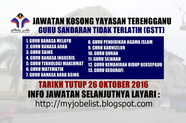 Jawatan Kosong Sebagai Guru Di Yayasan Terengganu 26 Oktober 2016 Jawatan Kosong Kerajaan Terkini Di Yayasan Terengganu Sebagai Guru Terengganu Guru Oktober