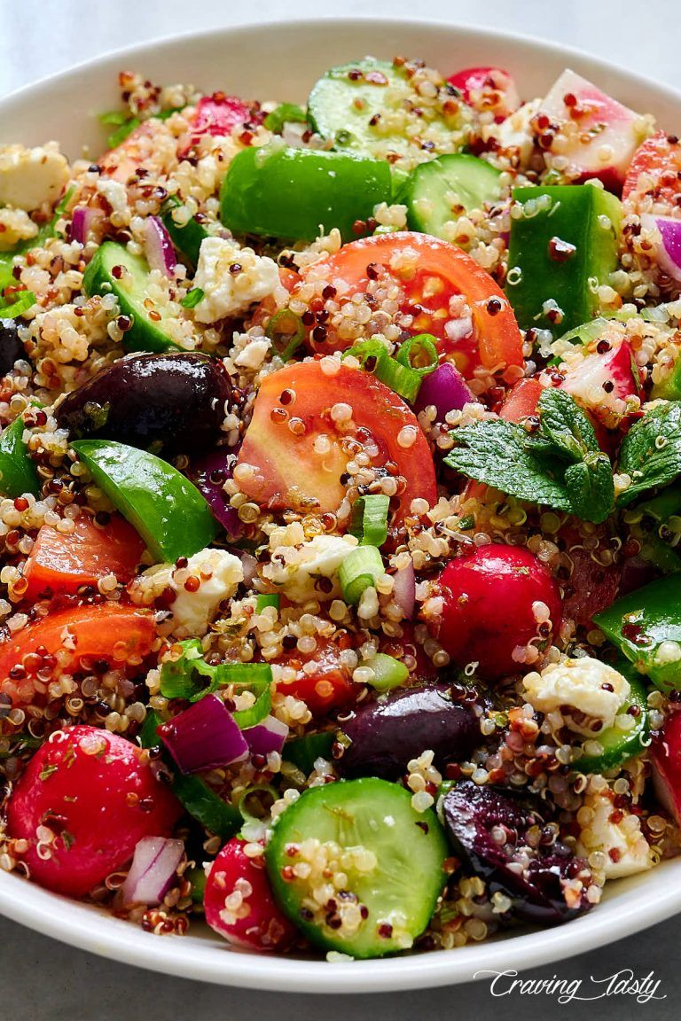 Best Quinoa Salad Recipe Made With Tri Color Quinoa Bell Peppers Tomatoes Cucumbers Kalama Quinoa Recipes Dinner Zesty Quinoa Salad Quinoa Recipes Healthy