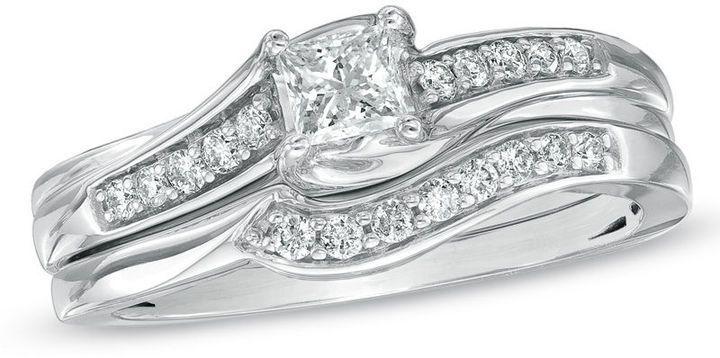 Zales Wedding Sets.1 2 Ct T W Princess Cut Diamond Bridal Set In 10k White Gold