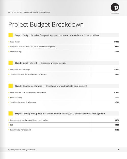 Freelance Designer Proposal Template for download at a great deal - budget proposal