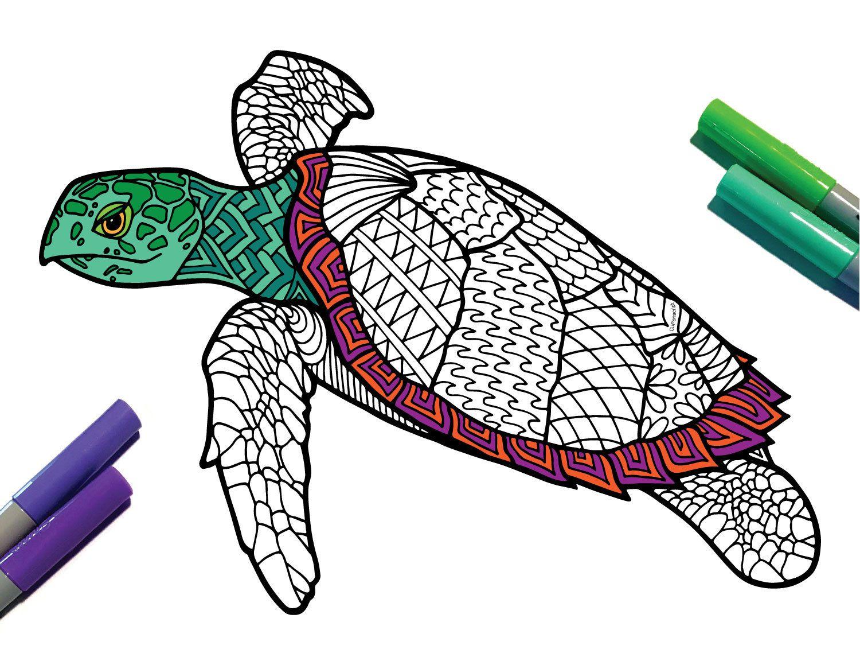 Hawksbill Turtle Endangered Animal PDF Zentangle