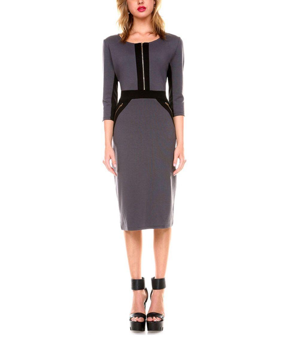 Another great find on #zulily! Stanzino Gray Zip-Front Sheath Dress by Stanzino #zulilyfinds