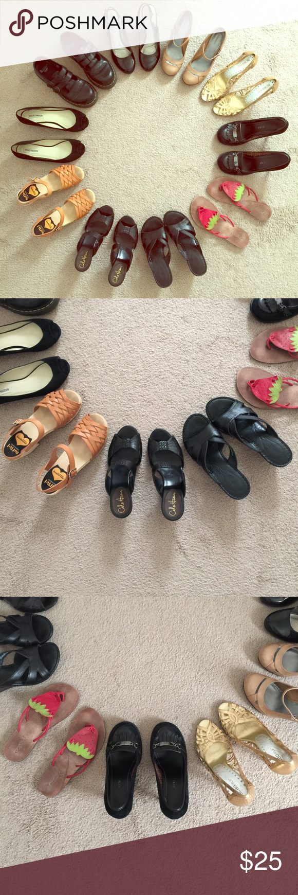 SHOES!!! Selling ALL that are pictured. All are size 7. Cole Haan, Dr. Martens, Sweedish Hasbeens, Steve Madden, Born, Gianni Bini, BCBG, all pictured here, even a few from Payless, 2 pair never worn. Some have separate listing. Prices vary between styles. Prices always negotiable. Please comment if you have questions or want to see something up close ❤️ Steve Madden Shoes