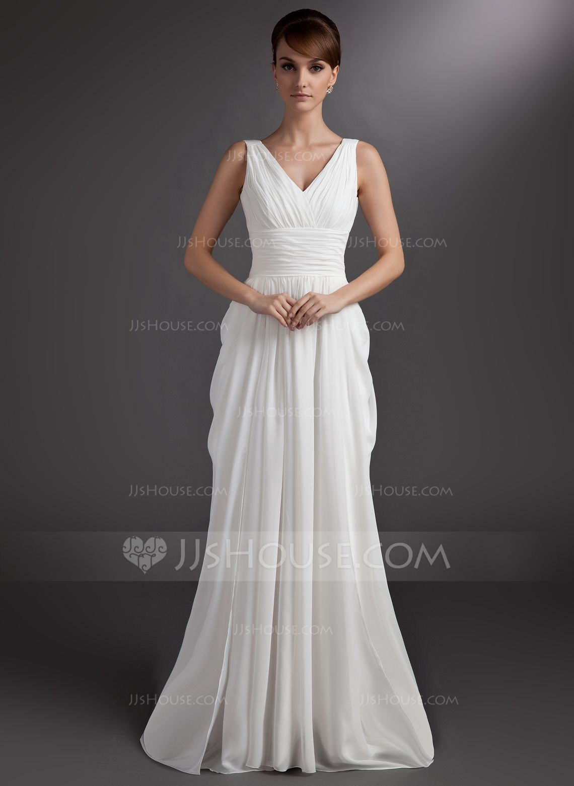 Wedding dresses v neck  ALinePrincess Vneck Court Train Chiffon Wedding Dress With Ruffle