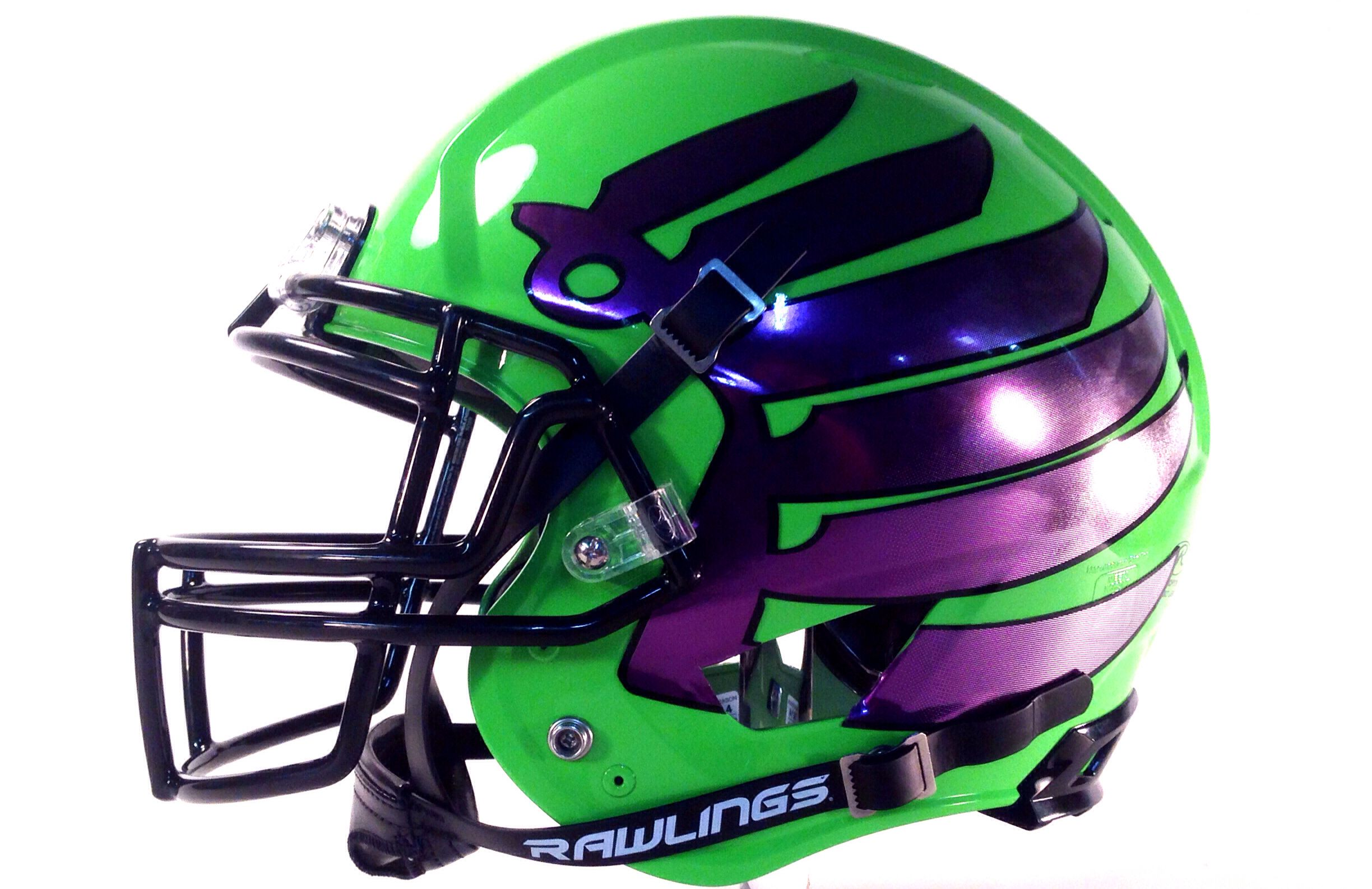 6ce85f5c7 Finally had time to put football helmet decals on our new Lime Green  Rawlings Tachyon football helmet. The wings displayed are in a Purple  Chrome that fade ...