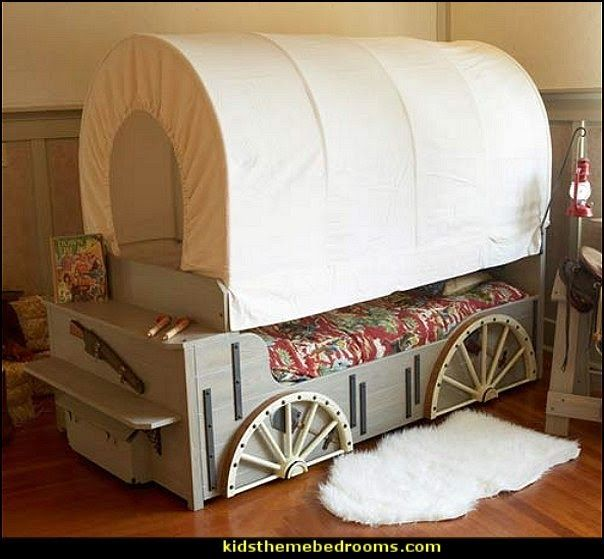 Kids wild west cover wagon bed living space pinterest for Cowgirl bedroom ideas for kids