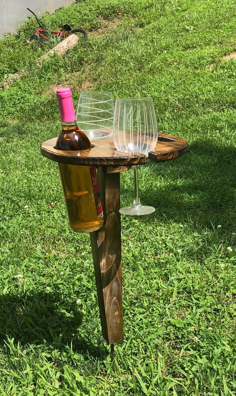 Folding Wine Table Etsy In 2020 Folding Wine Table Wine Table Wine