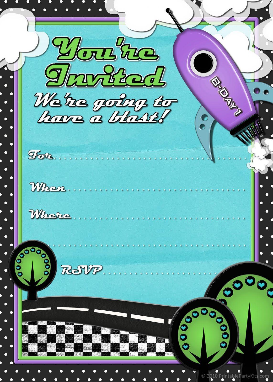 Free Printable Party Invitations Rocket Ship Birthday Invites For Boys