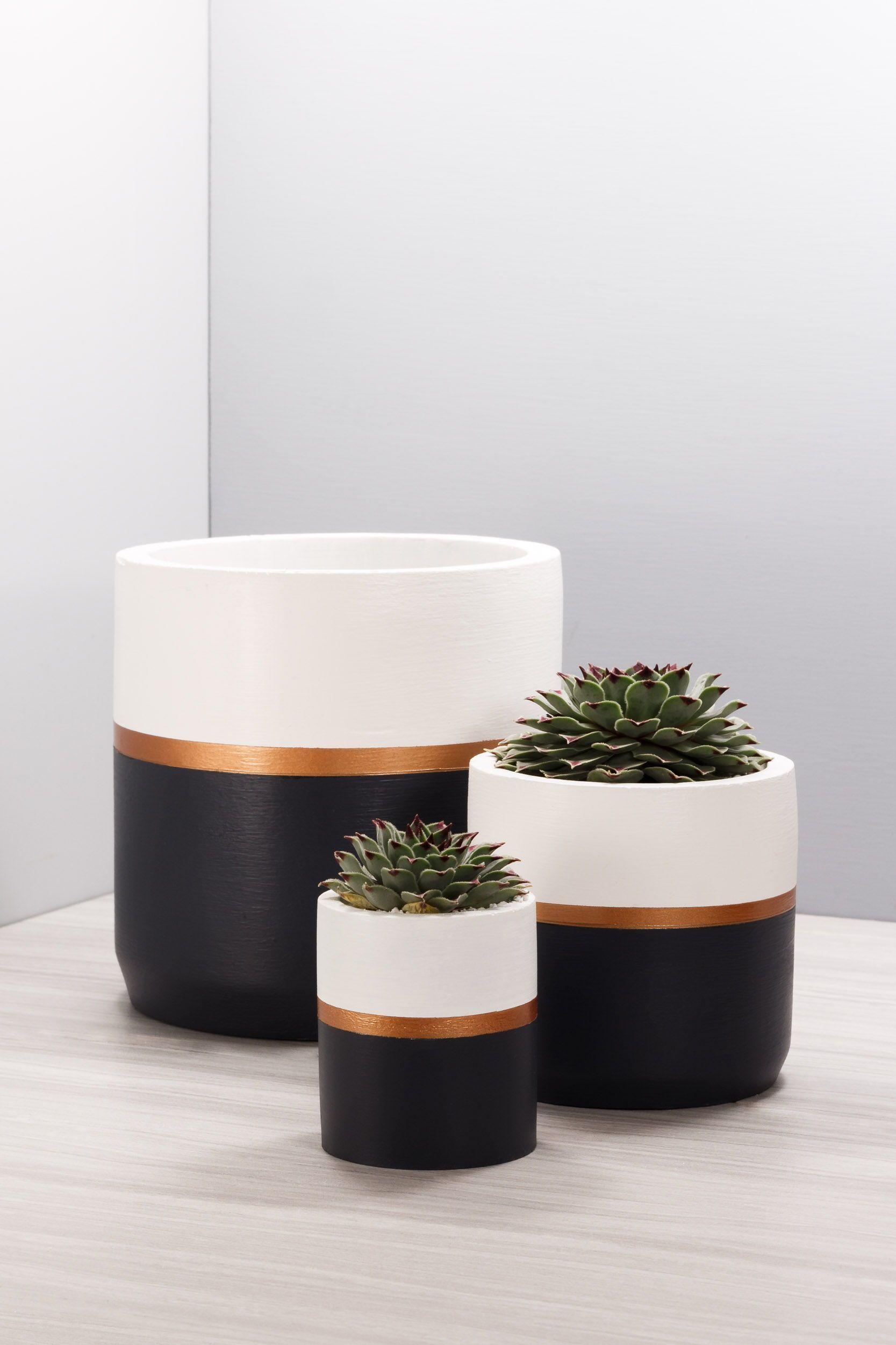 Concrete Succulent Planter _ 2 sizes, 3 colorways _ Gold Cement Cylinder Cactus Pot Pencil Cup Indoor Office Concrete Succulent PlanterConcrete Succulent Planter