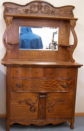Serpentine Front Oak Sideboard W Beveled Mirror And