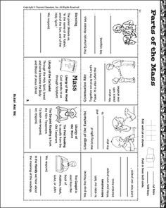 Parts of the mass worksheet sewdarncute for Catholic mass coloring pages
