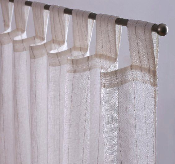 Set Of 2 Natural Sheer Linen Curtains 52 Striped Linen Tab Top