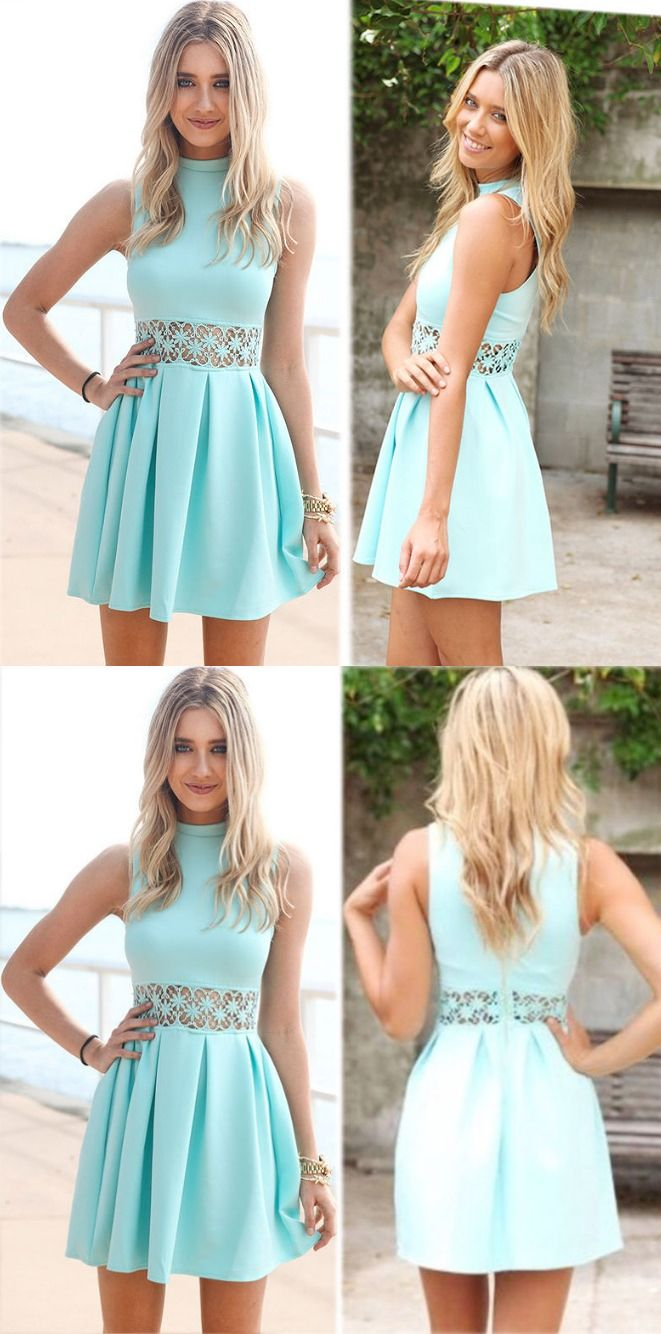 Aline round neck mint green short satin homecoming dress with lace
