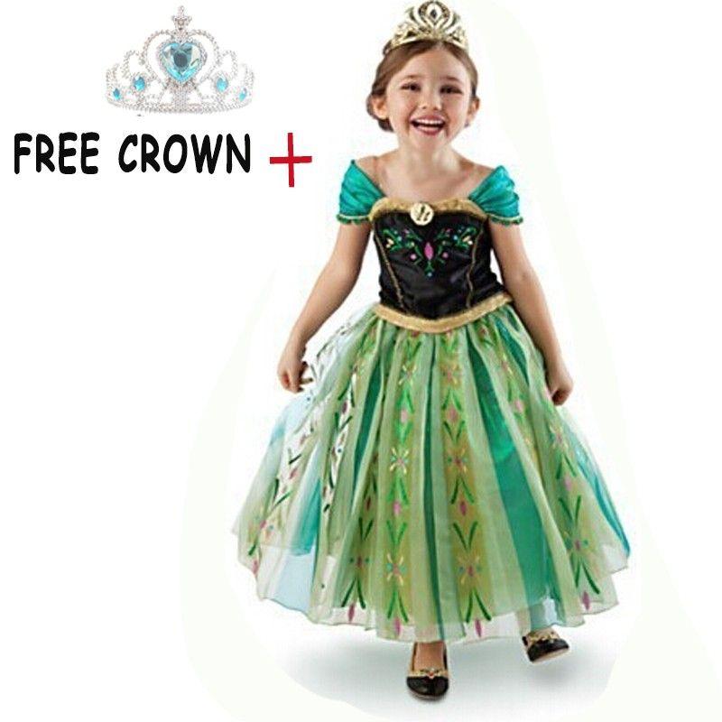 a8cfdb5c73e8 Hot Sale Princess Girls Elsa Dress Free Crown Girl Kids Party Halloween  Costume Snow Queen Kids