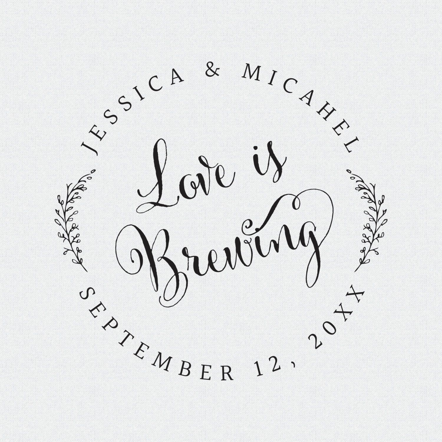 Coffee Sleeve Stamp, Love is Brewing Stamp, Wedding Favor Stamp ...