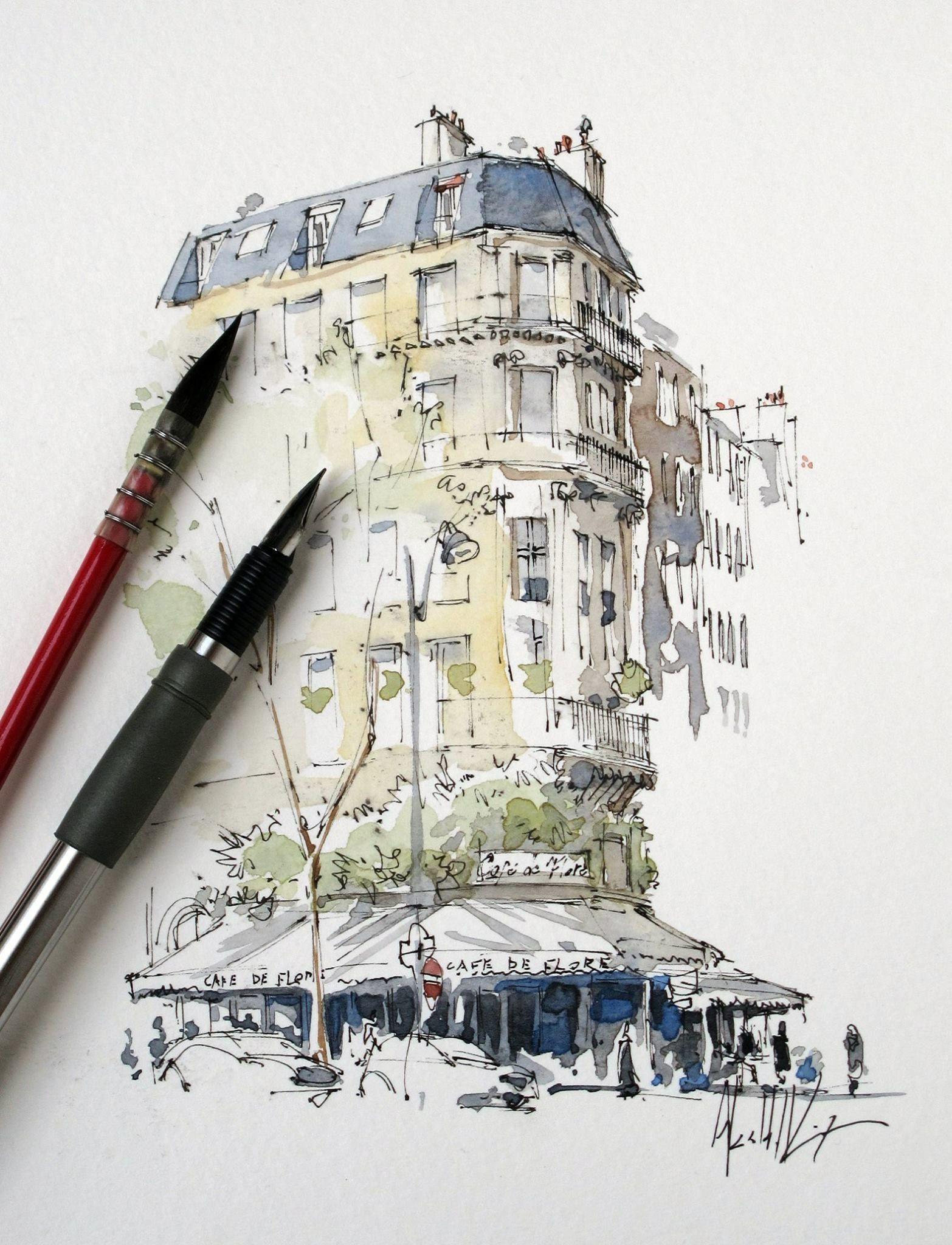 Pinterest Lottiesplace Watercolor Architecture