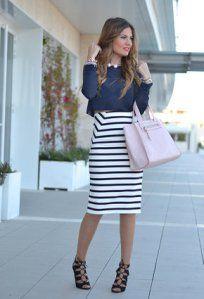 0bdba0d6a Faldas tubo. | SASTRE | Outfits con faldas, Faldas de rayas y Falda ...