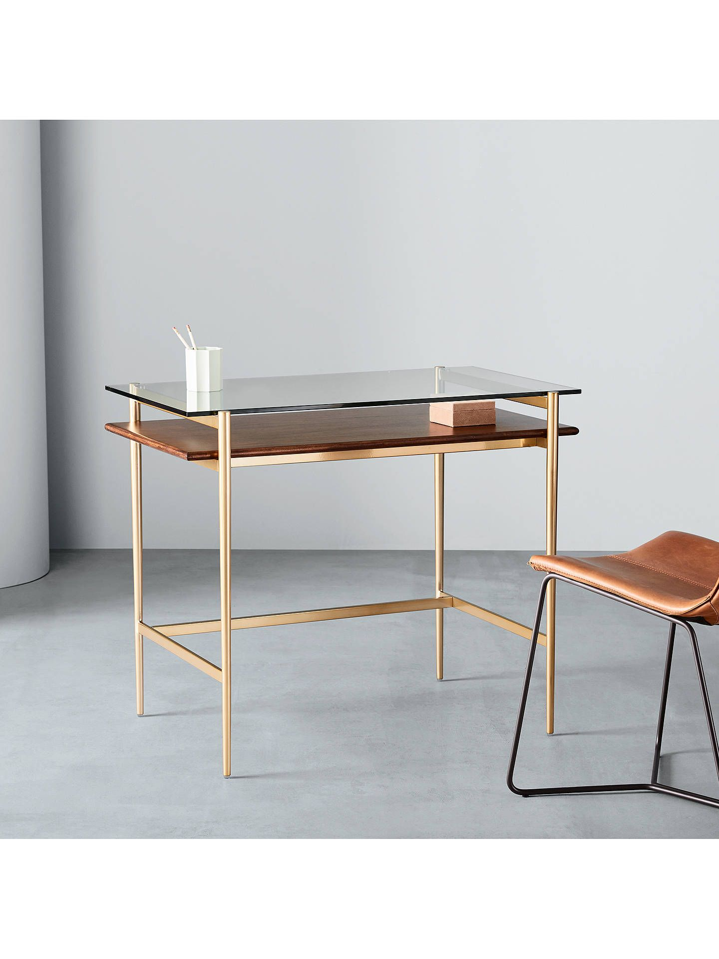 West Elm Art Display Mini Desk Walnut Brass In 2020 Glass Work Table Mini Desk West Elm Art