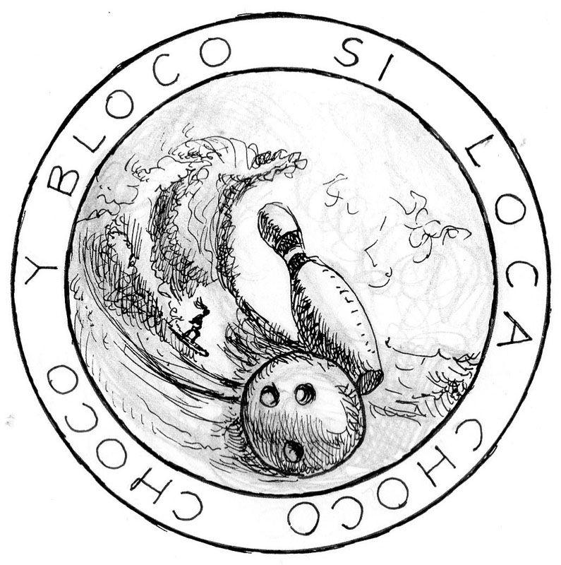 "Boceto de emblema para Ane, ""la surfista impetuosa"" JAZ"