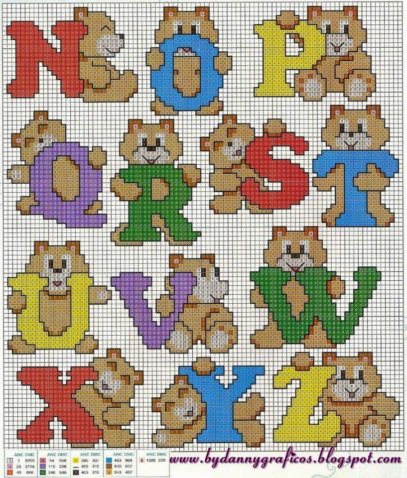 Punto croce per i bambini la mia passione alfabeto for Lettere alfabeto punto croce per bambini