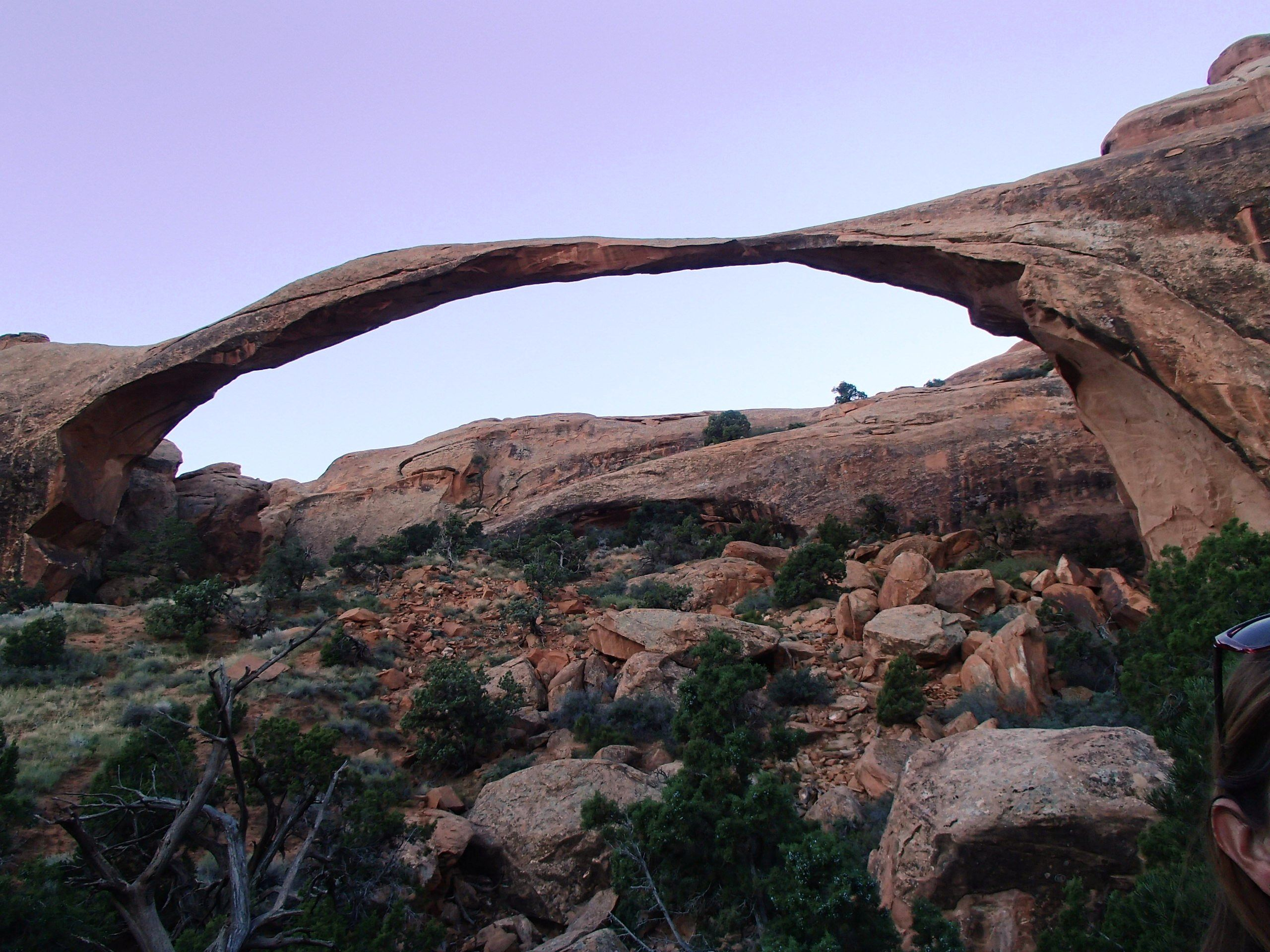 The evening sky is tinted lavender in this image of Landscape Arch