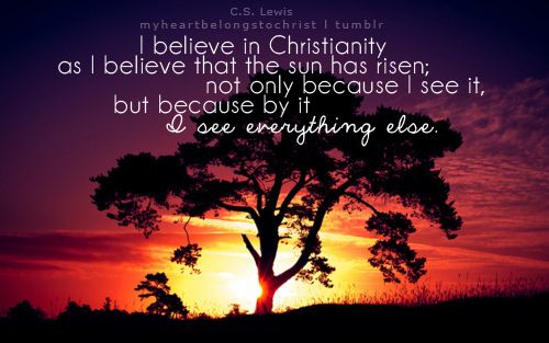 I believe in Christianity as I believe that the sun has risen not only because I see it, but because by it I see everything else.  C.S. Lewis