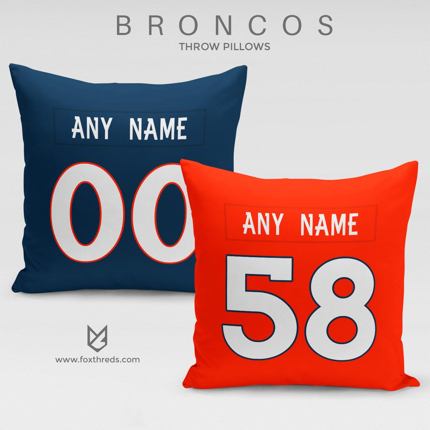 c0c21507d DENVER BRONCOS PILLOW FRONT AND BACK - PERSONALIZED SELECT ANY NAME   ANY  NUMBER