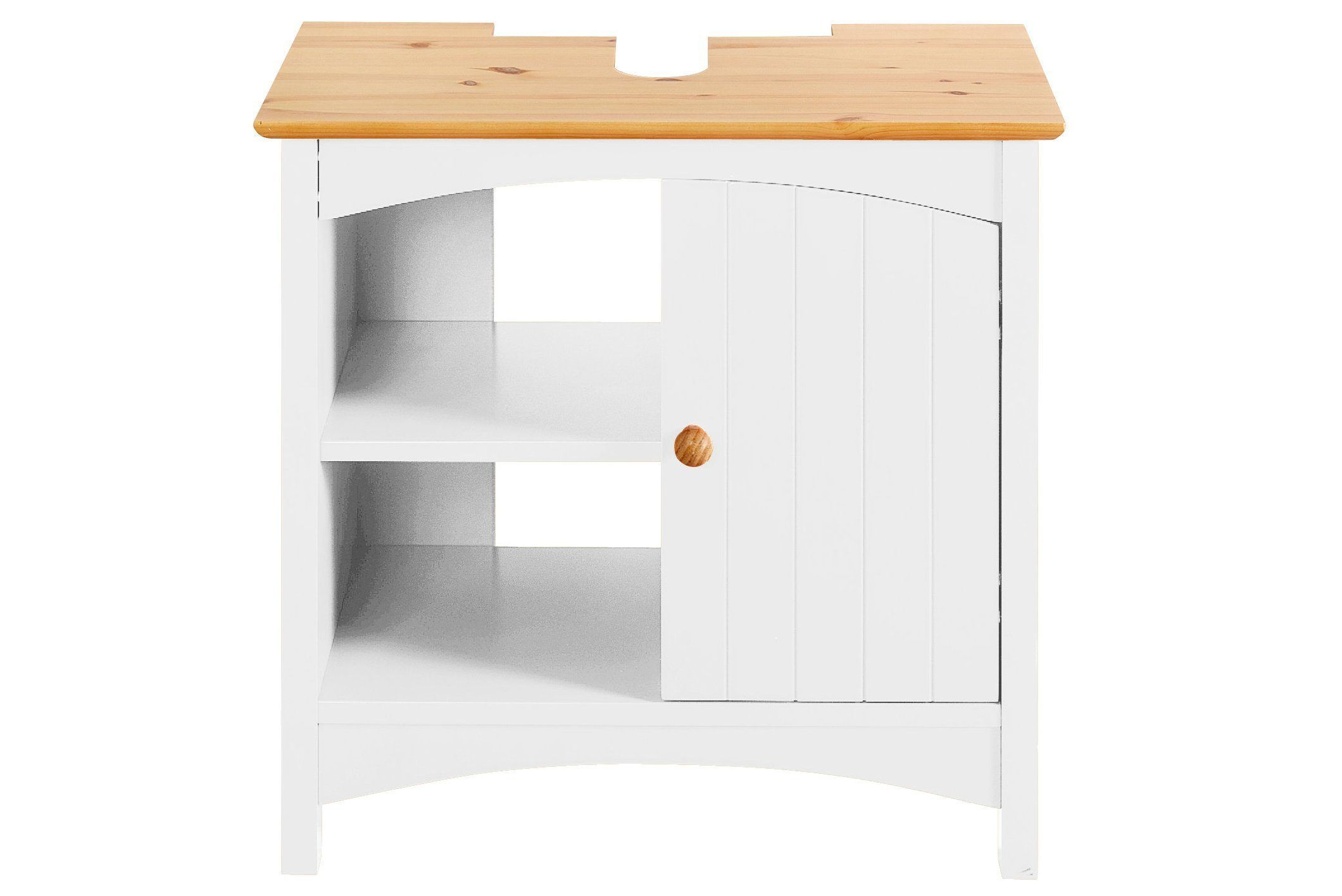 Badmöbel Waschbecken-Unterschrank weiß, 1 Tür, 2 offene Fächer ...