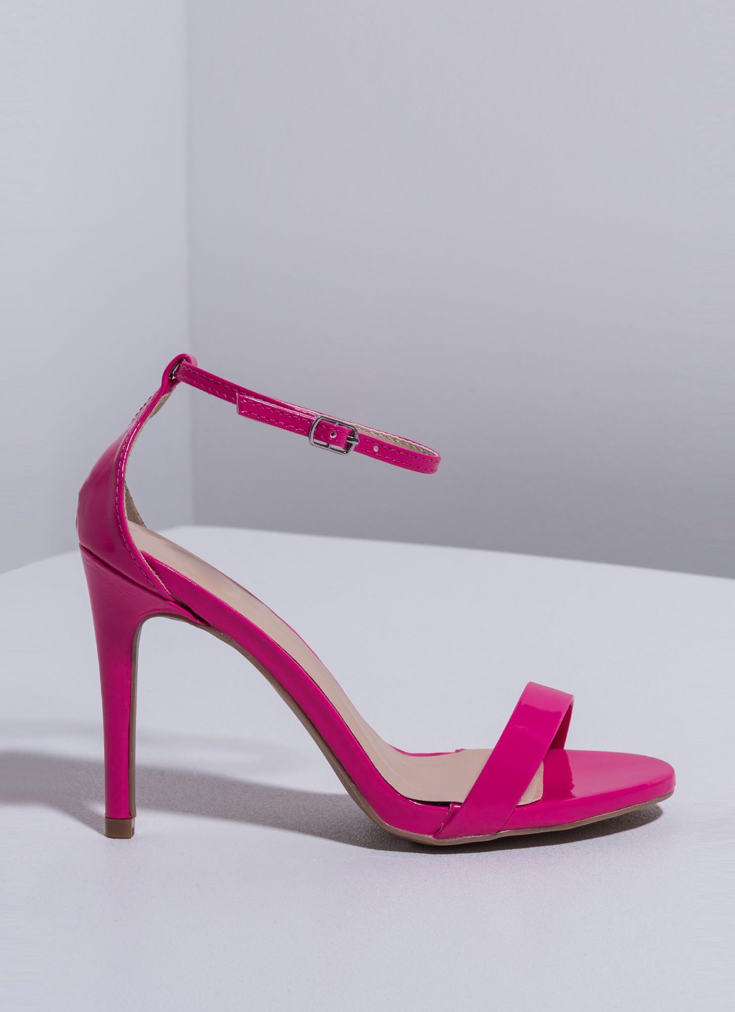 The Skinny Faux Patent Ankle Strap Heels