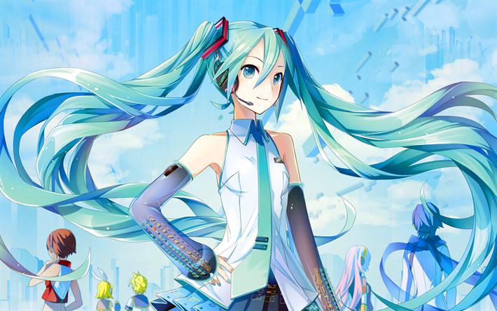 Lataa kuva Hatsune Miku, siniset hiukset, manga, Vocaloid