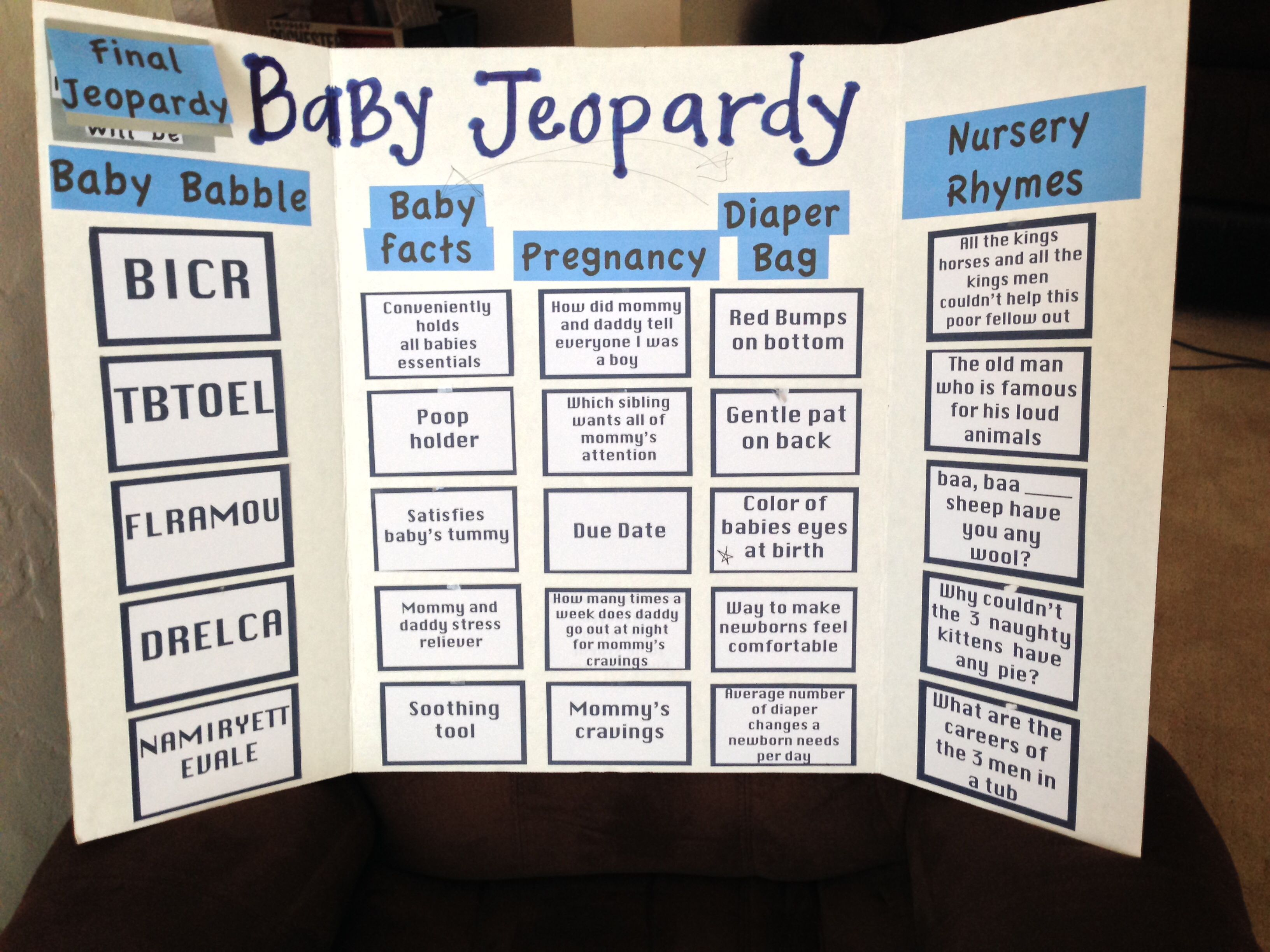 Baby jeopardy for my cousin s babyshower I placed patterned paper