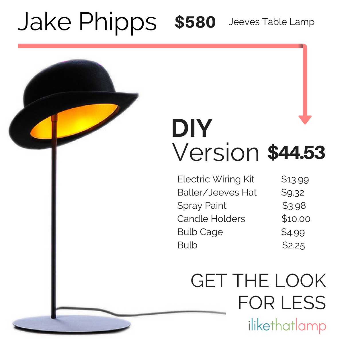 Get the look for less diy bowler hat table lamp bowler hat get the look for less 50 diy version of a 580 bowler hat table lamp geotapseo Image collections