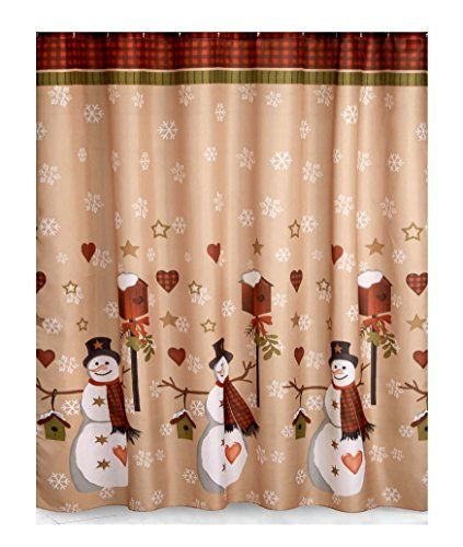 country snowman fabric christmas bathroom shower curtain httpswww amazoncomdpb01mf79fd0refcm_sw_r_pi_dp_x_uikrybd6f6bee - Christmas Bathroom Decor Amazon