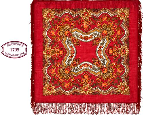 cht1146_5 Châle traditionnel russe 90x90 rouge