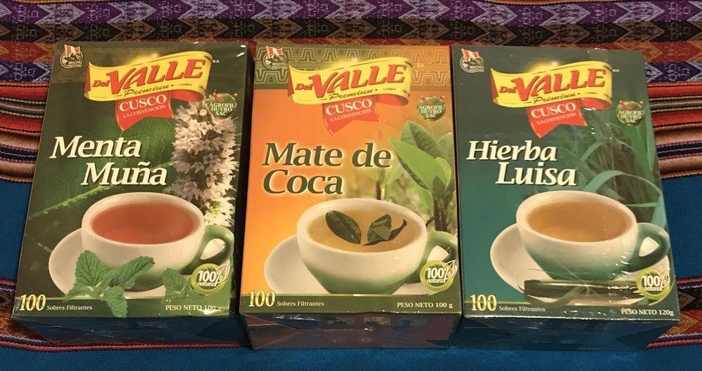 Del Valle Premiun Koka, Mint/Muña & Lemon Verbena - 100 Tea bag each