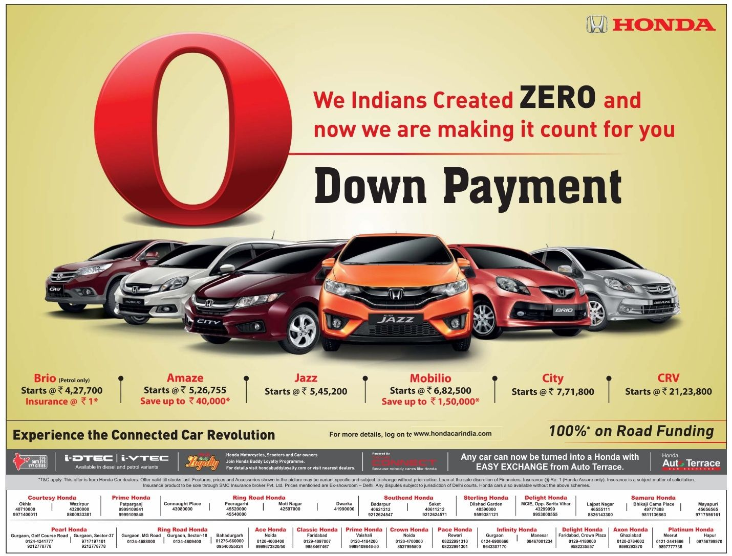 Zero (0) down payment on Honda Cars 100 on road funding