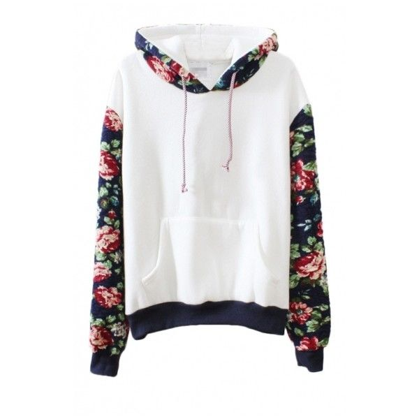 Flora Print Contract Hem Belt Pocket Detail Hoodie ($25) ❤ liked on  Polyvore featuring