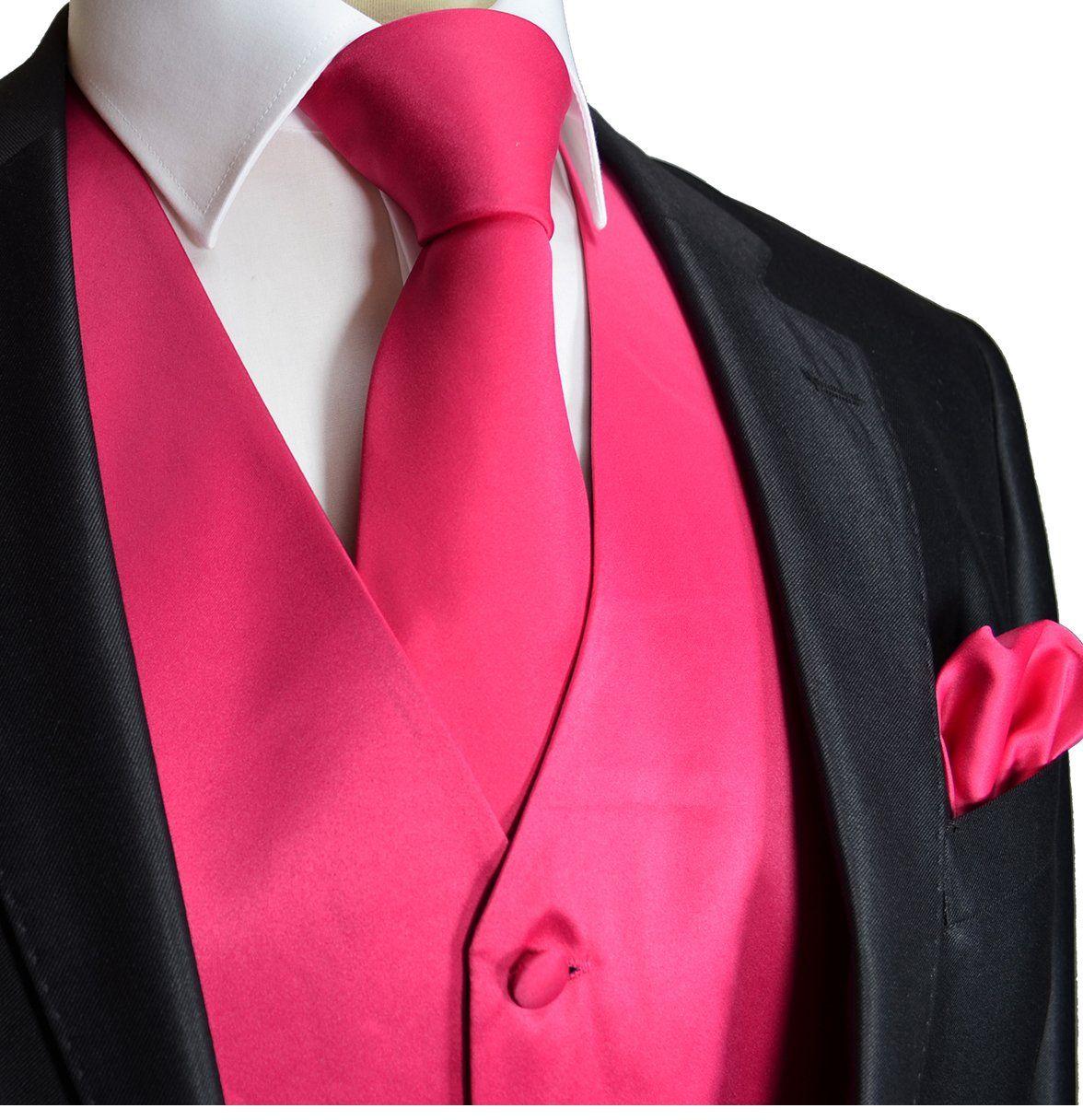 Brand Q Wedding Vest Set Solid Pink 3pcs Tuxedo Vest + Necktie + ...
