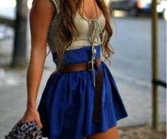 love the skirt color and the belt. skirt looks a wee bit short though