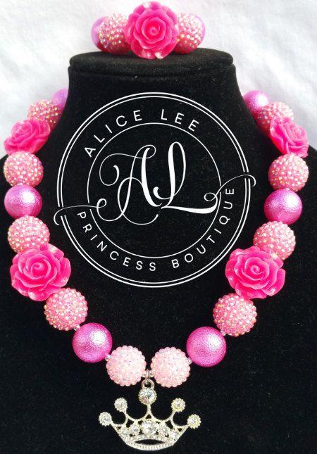 Hot Pink Tiara Rhinestone Princess Bubble Gum by AliceLeePrincess
