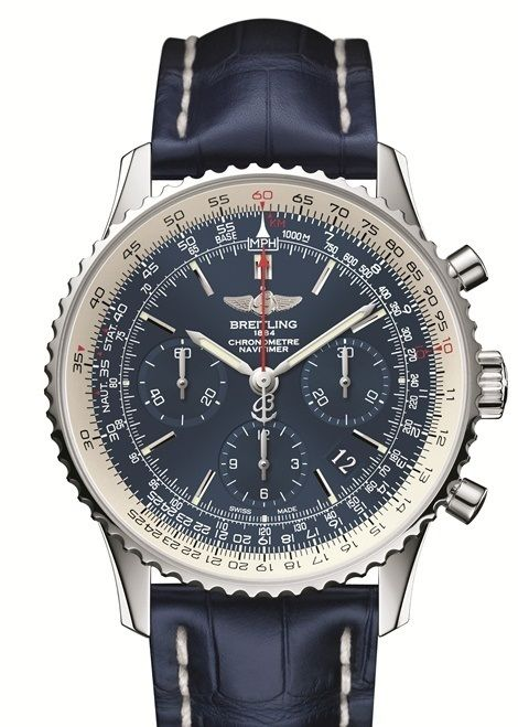 The Breitling Navitimer Blue Sky is limited edition timepiece featuring a  43mm steel case that houses the automatic mechanical manufacture Breitling  Caliber ... e2ed00899cd