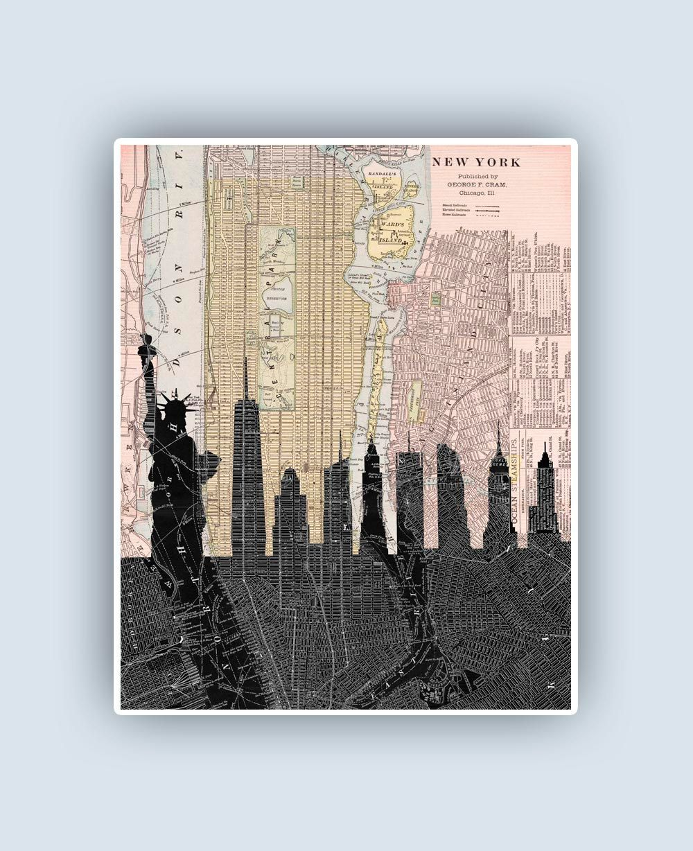 New York Skyline New York Print New York Art Manhattan Map - Nyc map to print