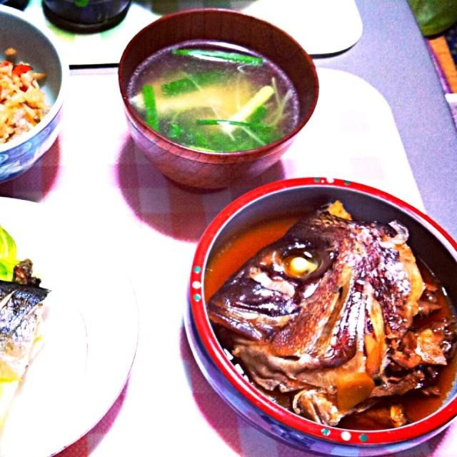 鯛のあら炊きと潮汁