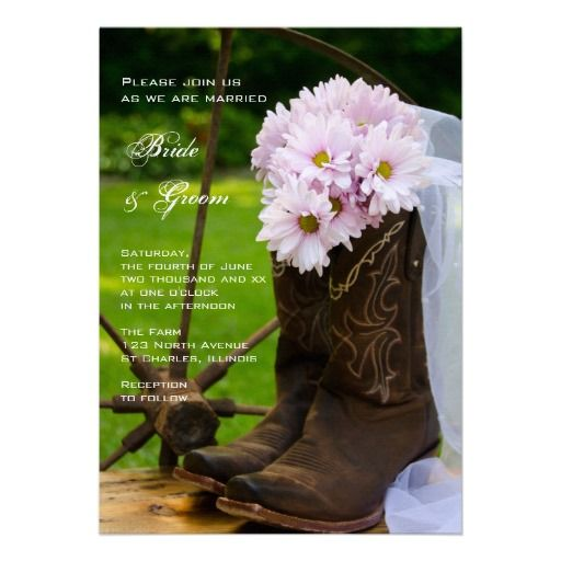 Rustic Daisies Country Wedding Invitation