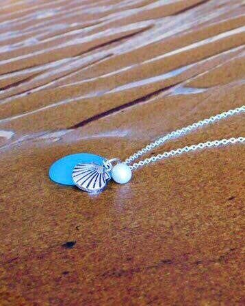 Photo of Sea Glass Necklace Blue Beach Glass Jewelry Sterling Silver Sea Glass Pendant aqua blue Freshwater Pearl Shell Charm Necklace
