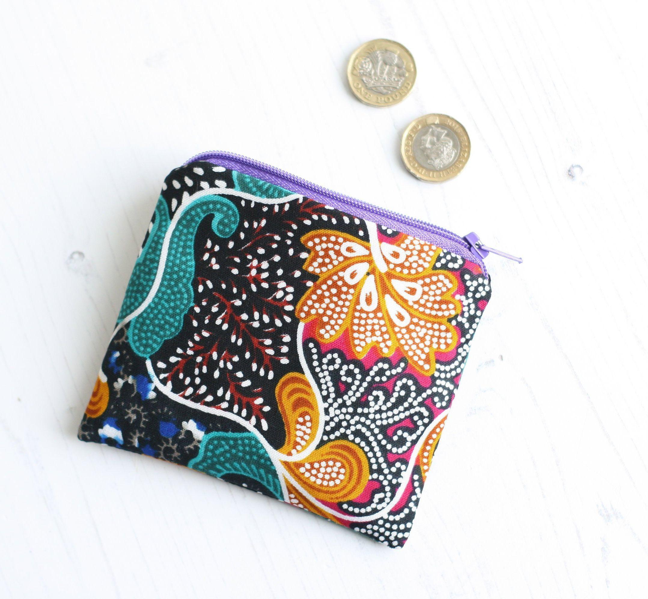 Ankara fabric coin purse black ethic change purse green